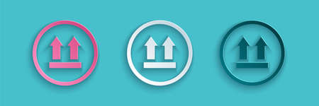 Paper cut This side up icon isolated on blue background. Two arrows indicating top side of packaging. Cargo handled. Paper art style. Vector Illustration Иллюстрация