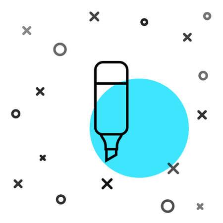 Black line Marker pen icon isolated on white background. Random dynamic shapes. Vector Illustration