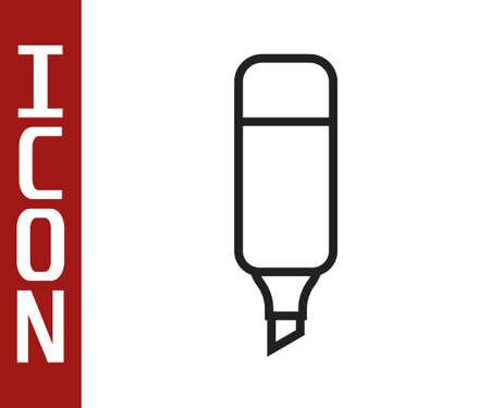 Black line Marker pen icon isolated on white background. Vector Illustration
