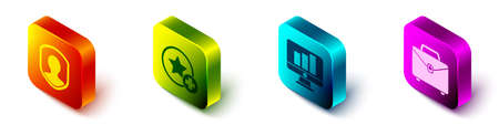Set Isometric User protection, Star, Monitor with graph chart and Briefcase icon. Vector