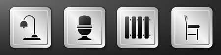 Set Table lamp, Toilet bowl, Heating radiator and Chair icon. Silver square button. Vector