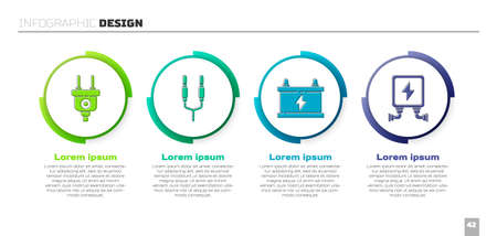 Set Electric plug, Audio jack, Car battery and Electric transformer. Business infographic template. Vector