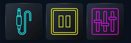 Set line Audio jack, Sound mixer controller and Pause button. Black square button. Vector Illusztráció