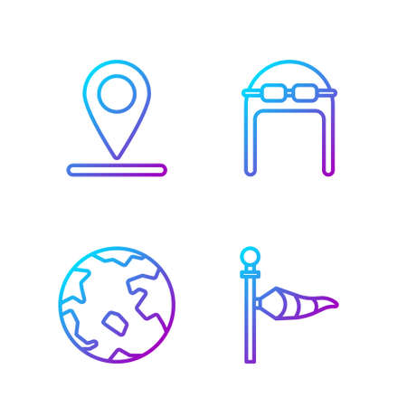 Set line Cone meteorology windsock wind vane, Worldwide, Location and Aviator hat with goggles. Gradient color icons. Vector
