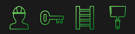Set line Wooden staircase, Worker safety helmet, Old key and Putty knife. Gradient color icons. Vector Иллюстрация