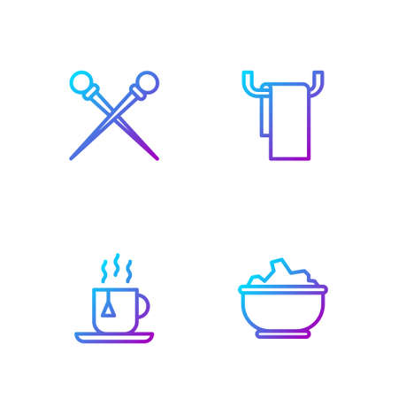 Set line Sea salt in a bowl, Cup of tea with tea bag, Knitting needles and Towel on hanger. Gradient color icons. Vector
