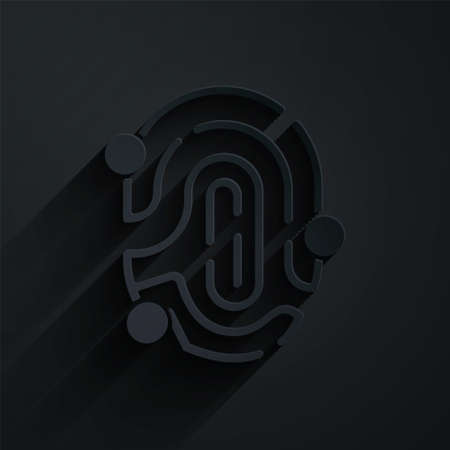 Paper cut Fingerprint icon isolated on black background. ID app icon. Identification sign. Touch id. Paper art style. Vector 矢量图像
