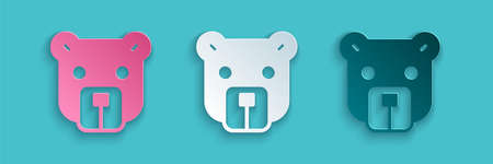 Paper cut Bear head icon isolated on blue background. Paper art style. Vector 向量圖像