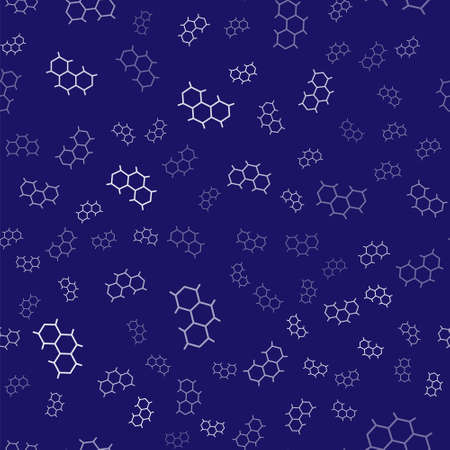 White Chemical formula icon isolated seamless pattern on blue background. Abstract hexagon for innovation medicine, health, research and science. Vector Ilustração Vetorial