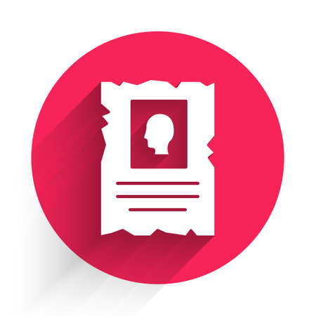 White Wanted western poster icon isolated with long shadow. Reward money. Dead or alive crime outlaw. Red circle button. Vector Иллюстрация
