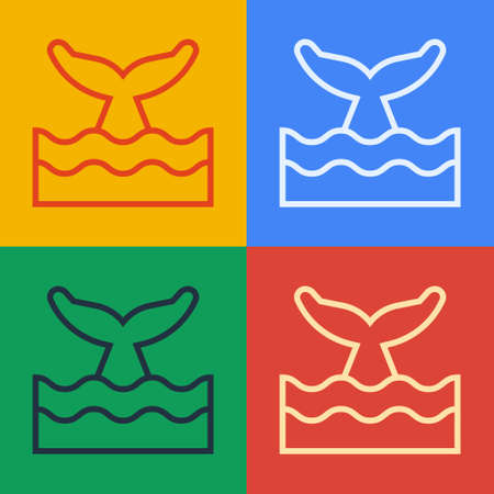 Pop art line Whale tail in ocean wave icon isolated on color background. Vector