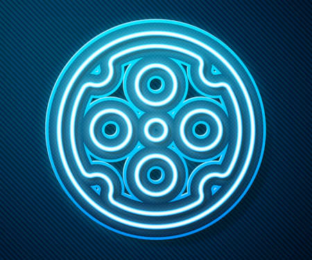 Glowing neon line Revolver cylinder icon isolated on blue background. Vector