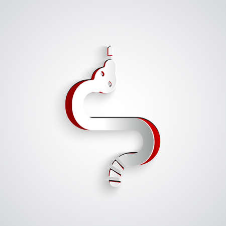 Paper cut Snake icon isolated on grey background. Paper art style. Vector