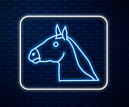 Glowing neon line Horse head icon isolated on brick wall background. Animal symbol. Vector