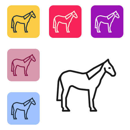 Black line Horse icon isolated on white background. Animal symbol. Set icons in color square buttons. Vector