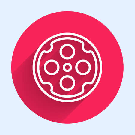 White line Revolver cylinder icon isolated with long shadow. Red circle button. Vector