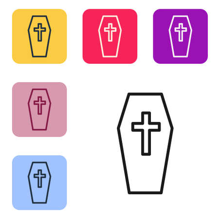Black line Coffin with christian cross icon isolated on white background. Happy Halloween party. Set icons in color square buttons. Vector