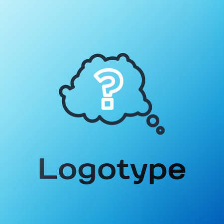 Line Question mark icon isolated on blue background. FAQ sign. Copy files, chat speech bubble and chart. Colorful outline concept. Vector