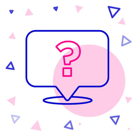 Line Question mark icon isolated on white background. FAQ sign. Copy files, chat speech bubble and chart. Colorful outline concept. Vector