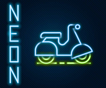 Glowing neon line Scooter delivery icon isolated on black background. Delivery service concept. Colorful outline concept. Vector