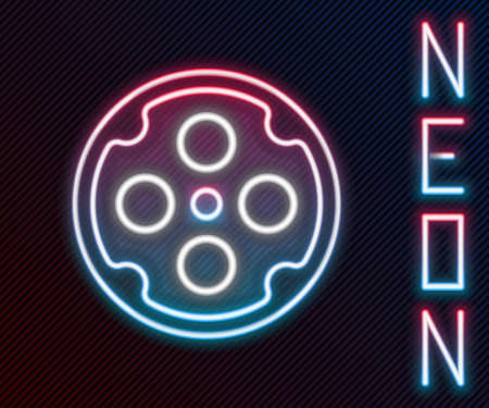 Glowing neon line Revolver cylinder icon isolated on black background. Colorful outline concept. Vector Ilustrace