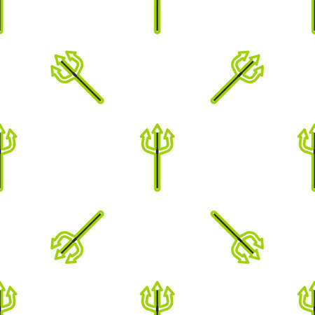 Line Neptune Trident icon isolated seamless pattern on white background. Happy Halloween party. Vector