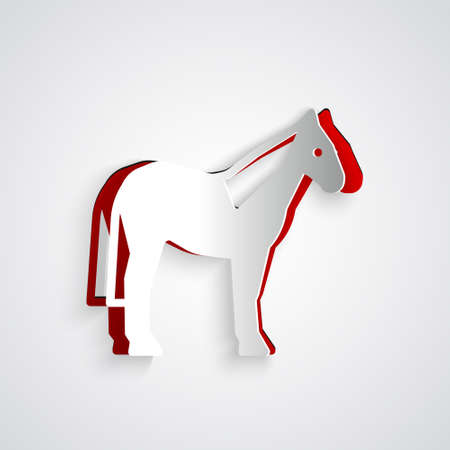 Paper cut Horse icon isolated on grey background. Animal symbol. Paper art style. Vector