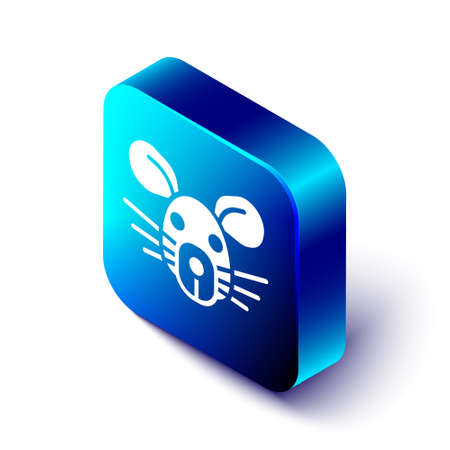 Isometric Rat head icon isolated on white background. Mouse sign. Animal symbol. Blue square button. Vector