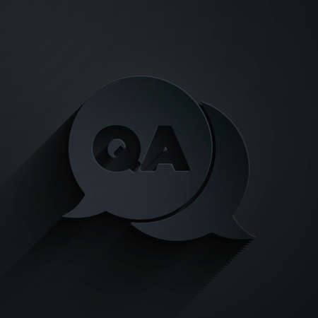 Paper cut Speech bubbles with Question and Answer icon isolated on black background. Q and A symbol. FAQ sign. Chat speech bubble and chart. Paper art style. Vector Ilustração