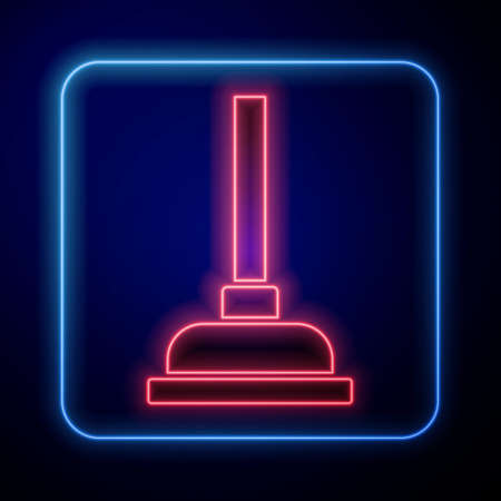 Glowing neon Rubber plunger with wooden handle for pipe cleaning icon isolated on blue background. Toilet plunger. Vector