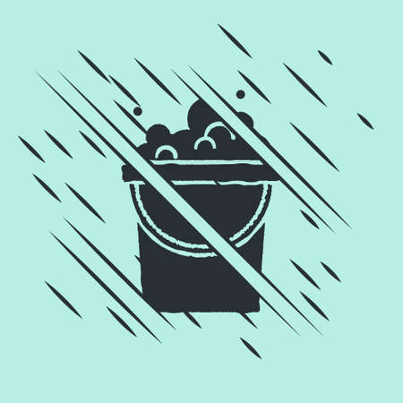 Black Bucket with soap suds icon isolated on green background. Bowl with water. Washing clothes, cleaning equipment. Glitch style. Vector Stock Illustratie