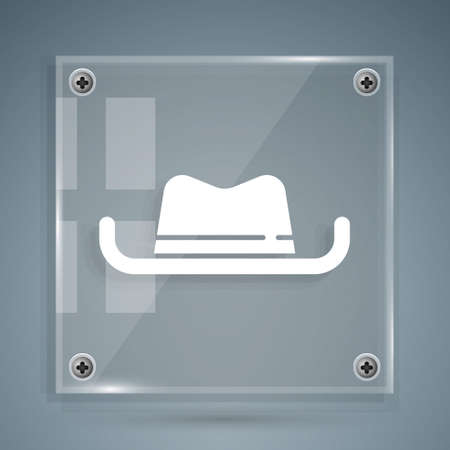 White Western cowboy hat icon isolated on grey background. Square glass panels. Vector Vetores