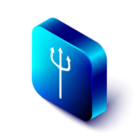 Isometric Neptune Trident icon isolated on white background. Happy Halloween party. Blue square button. Vector Stock Illustratie