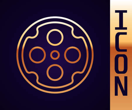 Gold line Revolver cylinder icon isolated on black background. Vector