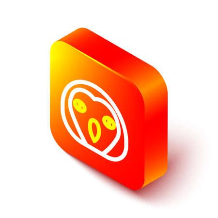 Isometric line Owl bird icon isolated on white background. Animal symbol. Orange square button. Vector