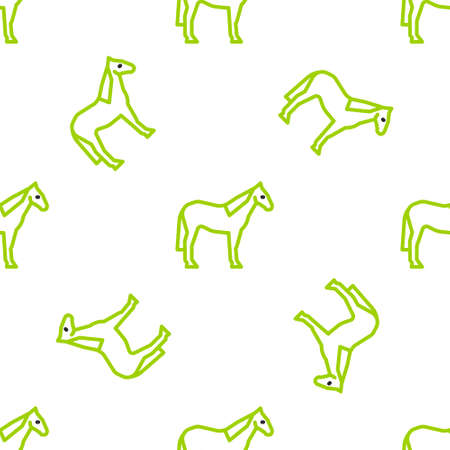 Line Horse icon isolated seamless pattern on white background. Animal symbol. Vector