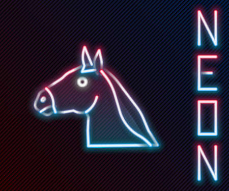 Glowing neon line Horse head icon isolated on black background. Animal symbol. Colorful outline concept. Vector