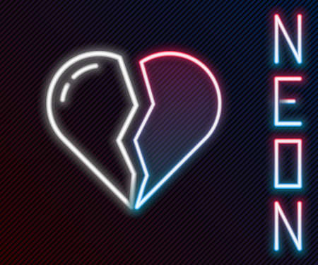 Glowing neon line Broken heart or divorce icon isolated on black background. Love symbol. Valentines day. Colorful outline concept. Vector Illusztráció