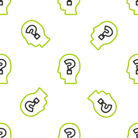Line Human head with question mark icon isolated seamless pattern on white background. Vector