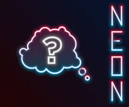 Glowing neon line Question mark icon isolated on black background. FAQ sign. Copy files, chat speech bubble and chart. Colorful outline concept. Vector Imagens - 155384054