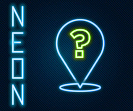 Glowing neon line Question mark icon isolated on black background. FAQ sign. Copy files, chat speech bubble and chart. Colorful outline concept. Vector Ilustração