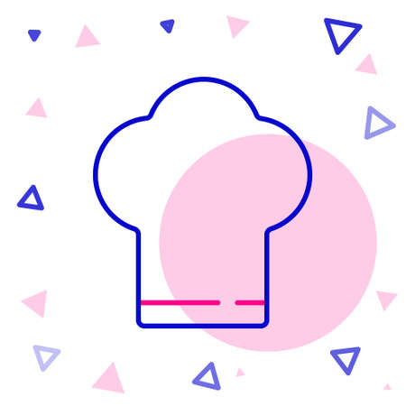 Line Chef hat icon isolated on white background. Cooking symbol. Cooks hat. Colorful outline concept. Vector