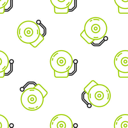 Line Ringing alarm bell icon isolated seamless pattern on white background. Alarm symbol, service bell, handbell sign, notification symbol. Vector