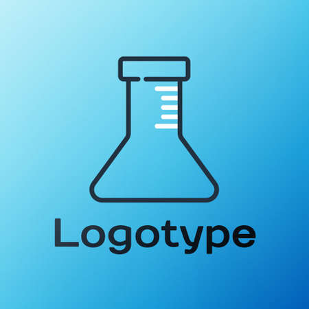 Line Test tube and flask icon isolated on blue background. Chemical laboratory test. Laboratory glassware. Colorful outline concept. Vector