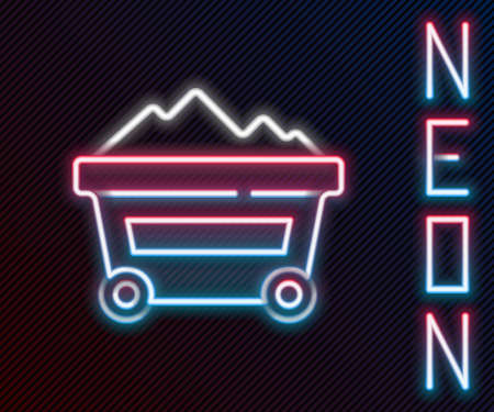 Glowing neon line Coal mine trolley icon isolated on black background. Factory coal mine trolley. Colorful outline concept. Vector