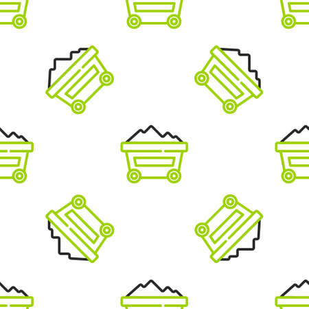 Line Coal mine trolley icon isolated seamless pattern on white background. Factory coal mine trolley. Vector Иллюстрация
