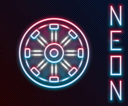 Glowing neon line Old wooden wheel icon isolated on black background. Colorful outline concept. Vector