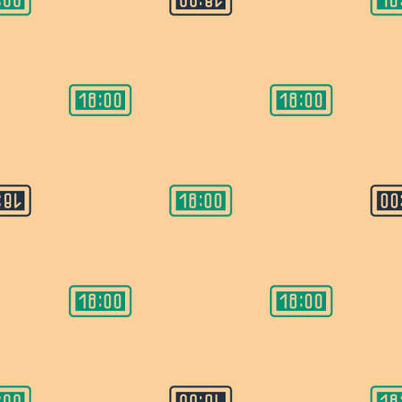 Green and black Digital alarm clock icon isolated seamless pattern on beige background. Electronic watch alarm clock. Time icon. Vector Illustration Ilustração