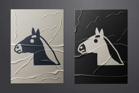 White Horse head icon isolated on crumpled paper background. Animal symbol. Paper art style. Vector Illusztráció