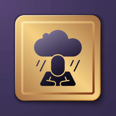 Purple Depression and frustration icon isolated on purple background. Man in depressive state of mind. Mental health problems. Gold square button. Vector Illusztráció